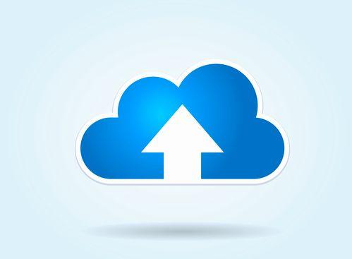 This image represents a cloud upload illustration./Cloud Upload
